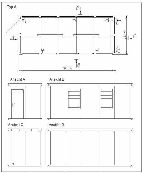 burocontainer mit wc und dusche. Black Bedroom Furniture Sets. Home Design Ideas