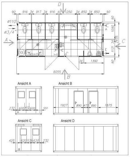 Container-Grundrisse / Grundriss-Beispiele, Wohncontainer ... | {Toilette maße 56}